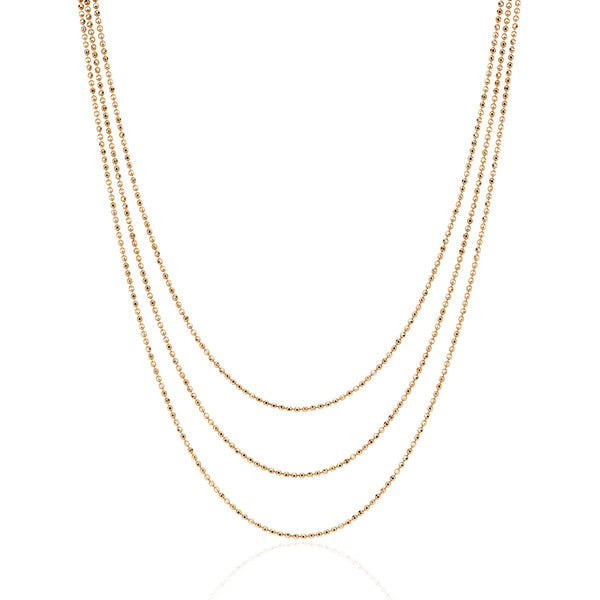 14K Rose Gold  Hasson Triple Layered Chain Necklace | EF Collection | Fine Jewelry | Necklace