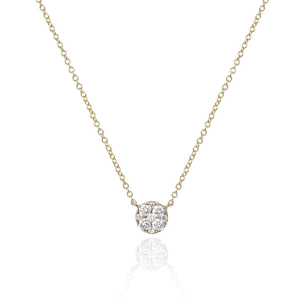 14K Gold  Full Cut Diamond Disc Choker Necklace | EF Collection | Fine Jewelry | Necklace