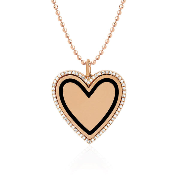 14K Rose Gold  Diamond & Black Enamel Heart Necklace | EF Collection | Fine Jewelry | Necklace