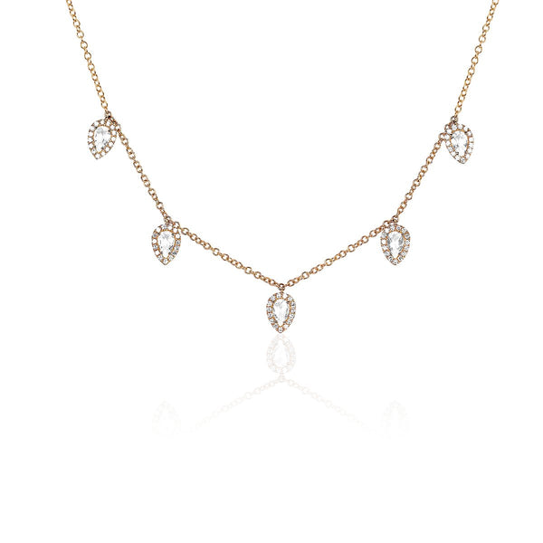 14K Rose Gold  Diamond White Topaz 5 Teardrop Necklace | EF Collection | Fine Jewelry | Necklace