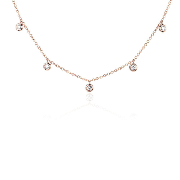 14K Rose Gold  Diamond 5 Bezel Choker Necklace | EF Collection | Fine Jewelry | Necklace