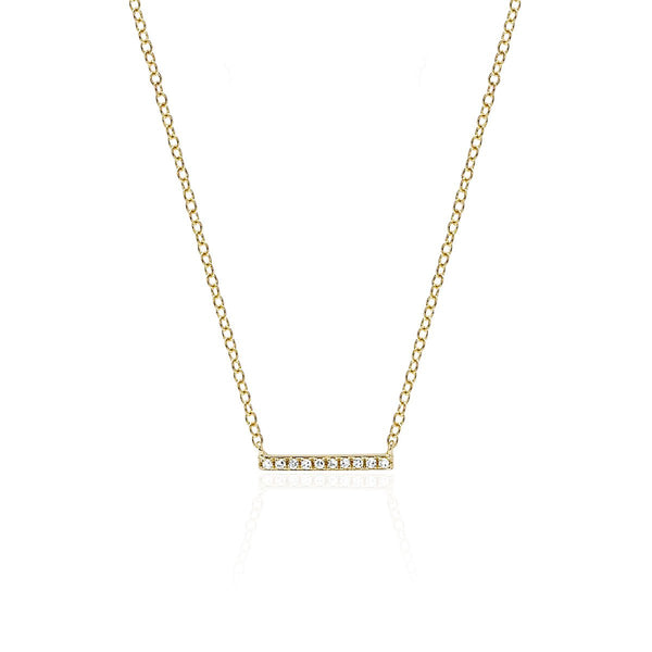 14K Gold  Diamond Mini Bar Necklace | EF Collection | Fine Jewelry | Necklace