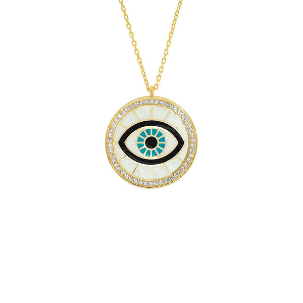 White Enamel Round Eye Pendant Necklace | Tai | Fashion Accessories | Necklace