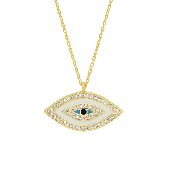 Marquise Shape White Enamel Eye Necklace | Tai | Fashion Accessories | Necklace