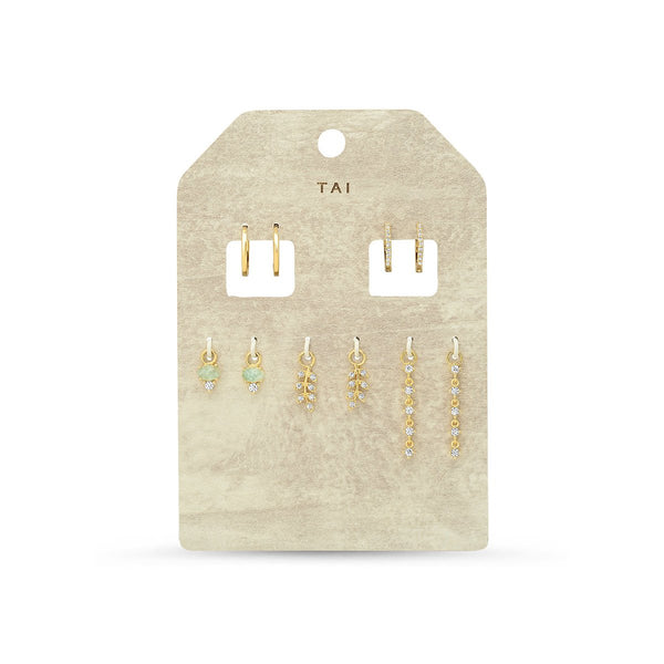 Two Set Of Huggie And Opal And Constellation Earrings | Tai | Fashion Accessories | Necklace