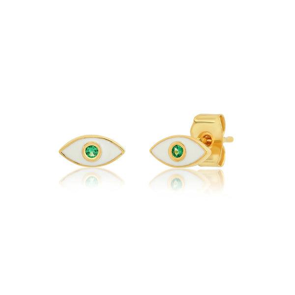 White Enamel Marquee Shaped Evil Eye Earrings | Tai | Fashion Accessories | Necklace