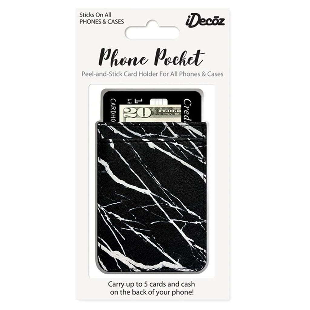Black Marble Faux Leather Phone Pocket | iDecoz | Mobile Phone Accessories | Fashion Accessories