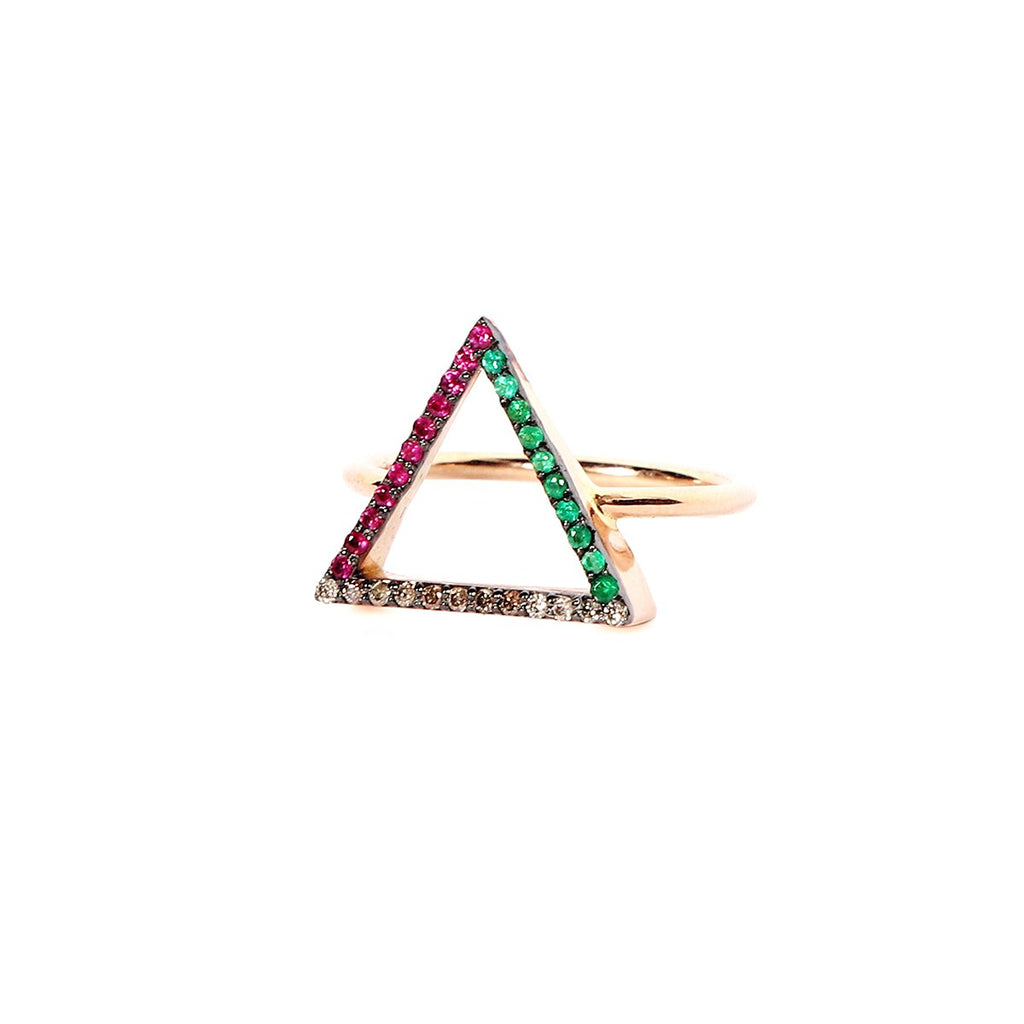 18K Gold Emeralds, Rubies And Brown Diamondtriangle Colored Ring | Orchid Jewelry | Fine Jewelry |  Ring