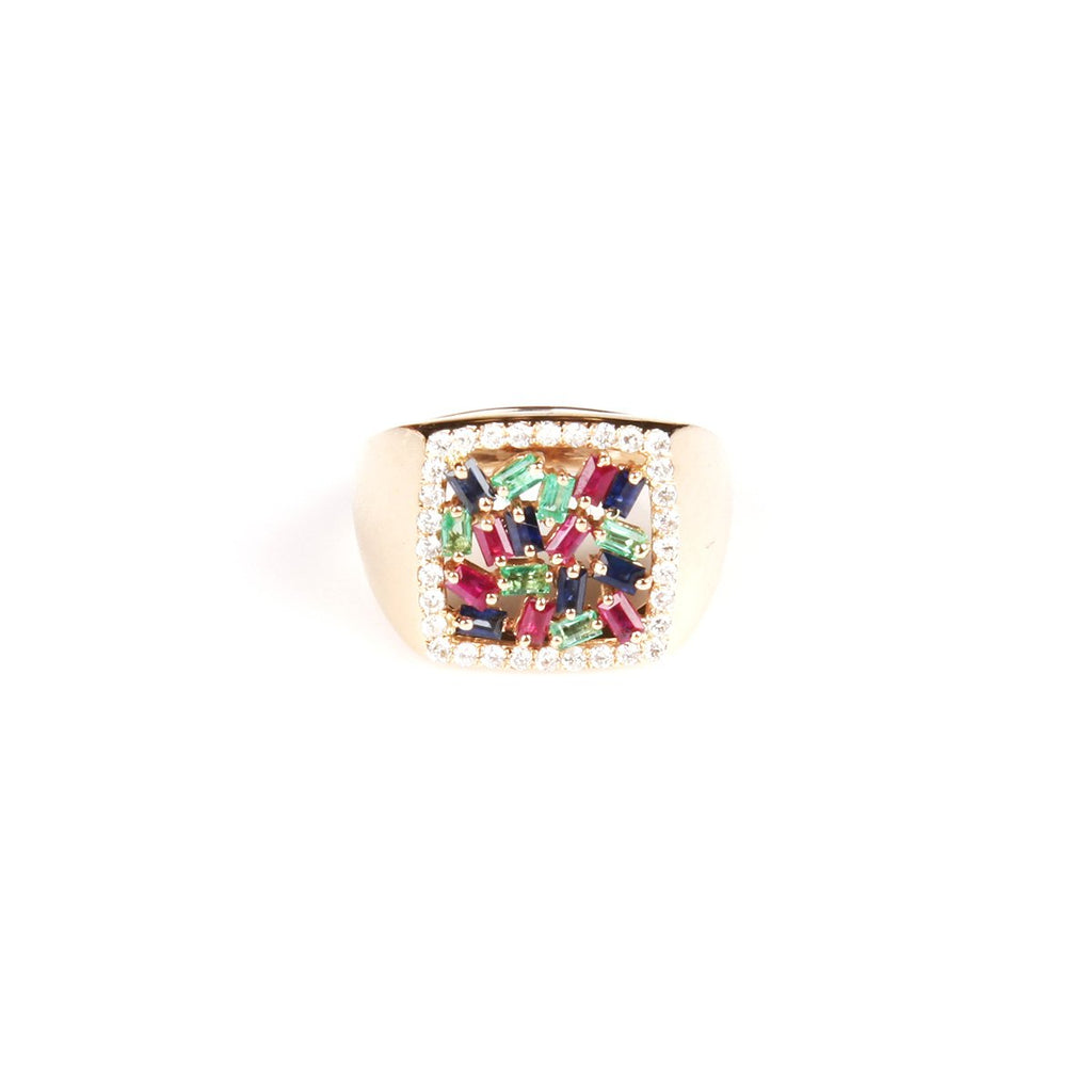 18K Gold Square Diamond And Bagutte Colored Ring | Orchid Jewelry | Fine Jewelry |  Ring