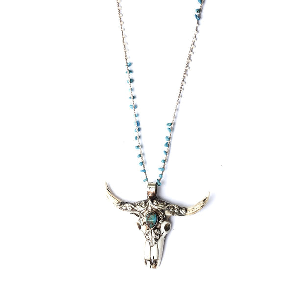 Treasures Long Horn Handcrochet Necklace | Fashion Accessories | Native Gem | Necklace