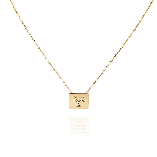 18K Gold Square Plate Necklace | Meher Jewelry | Fine Jewelry | Necklace