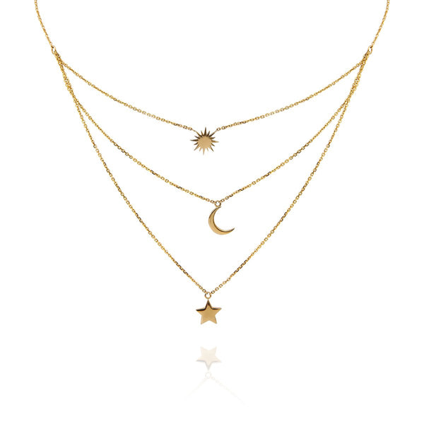 18K Gold Sun Moon Star Trio Necklace | Meher Jewelry | Fine Jewelry | Necklace
