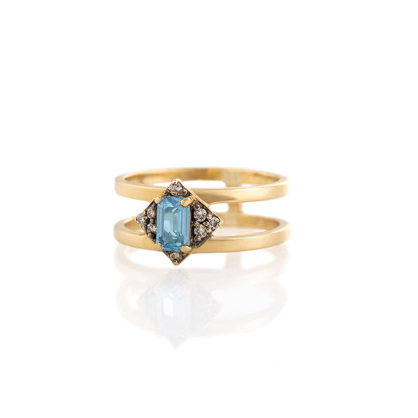 Brown Diamond Bluetopaz Artemis Ring | By Delcy | Fine Jewelry | Rings