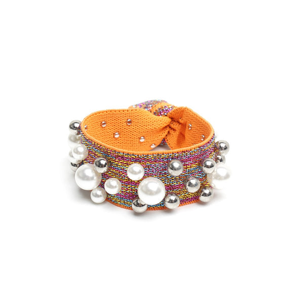 Orange vegan pearl stud Hair ties | Gemelli | Home Accessories