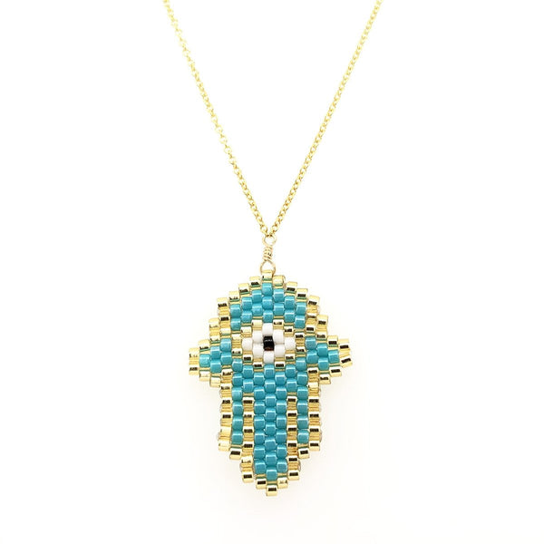 Turquoise Hamsa Small Necklace | Bara Boheme | Fashion Accessories | Necklace