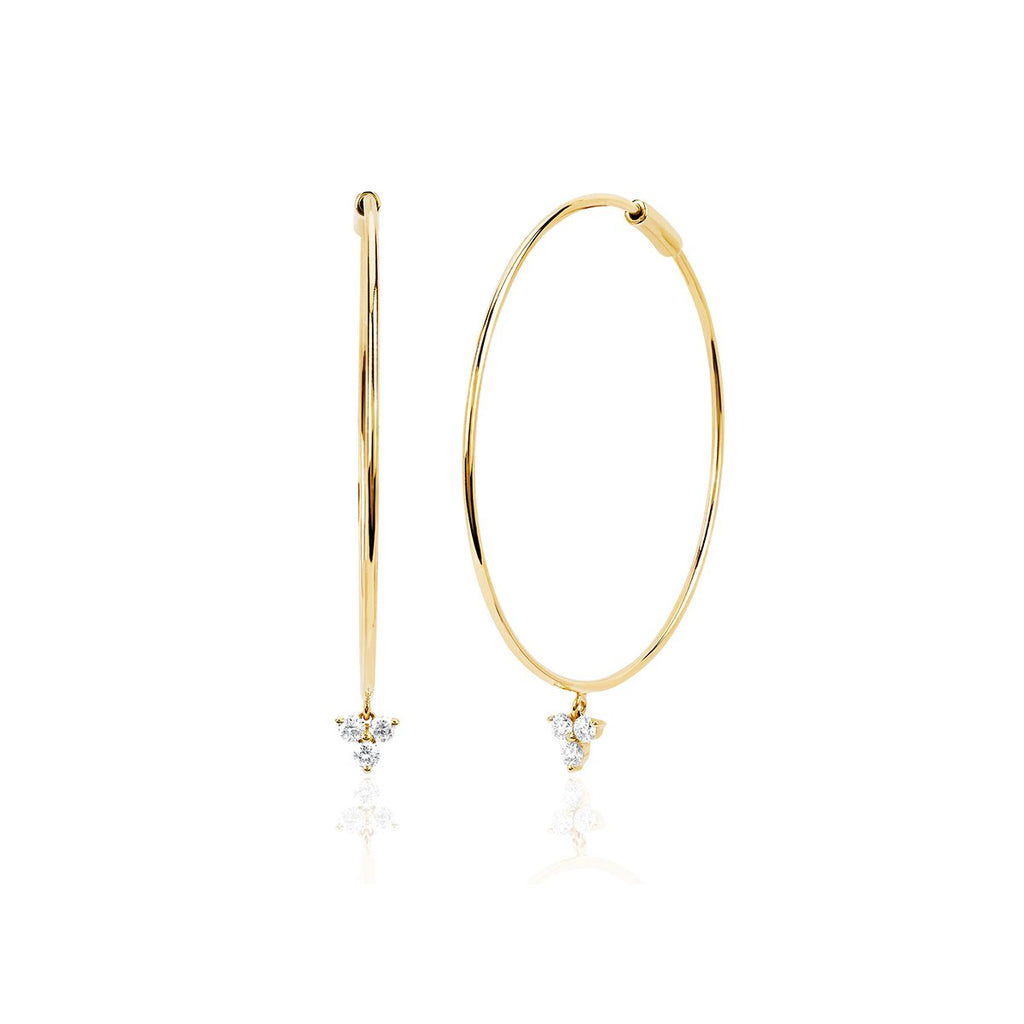 14K Gold Trio Drop Earrings | Ef Collection | Fine Jewelry | Earrings