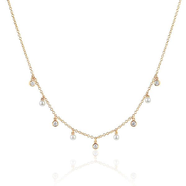 14K Diamond Bezel And Pearl Necklace | Ef Collection | Fine Jewelry | Necklace