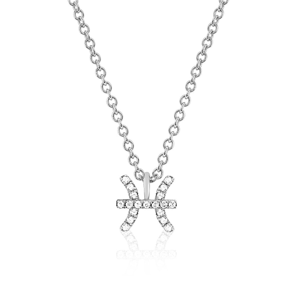 14K White Diamonds Pisces Zodiac Sign Necklace | Ef Collection | Fine Jewelry | Necklace