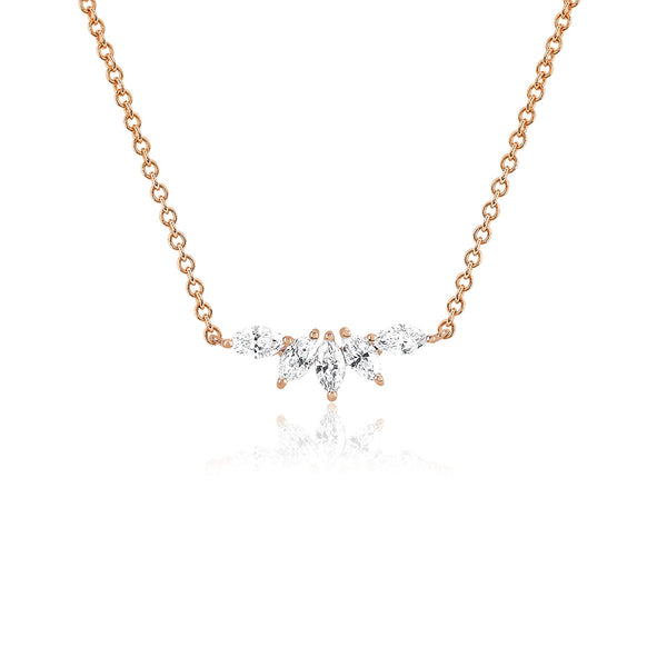 14K Rose Gold Marquise Fan Necklace | Ef Collection | Fine Jewelry | Necklace