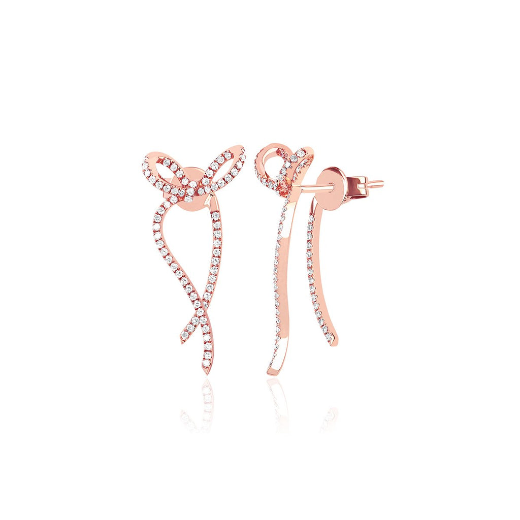 14K Rose Gold Ribbon Earrings | Ef Collection | Fine Jewelry | Earrings
