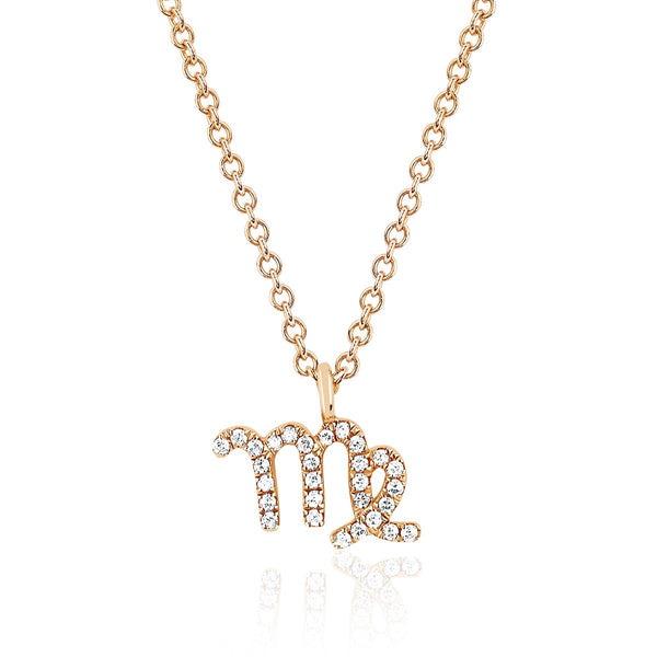 14K Rose Gold Virgo Zodiac Sign Necklace | Ef Collection | Fine Jewelry | Necklace