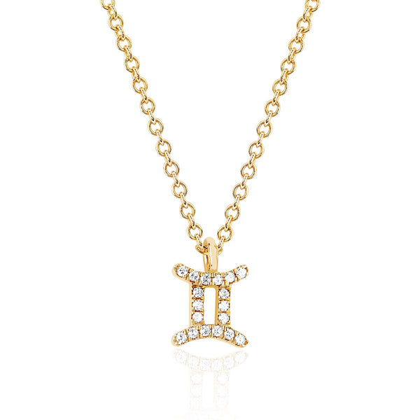14K Gold Gemini Zodiac Sign Necklace | Ef Collection | Fine Jewelry | Necklace