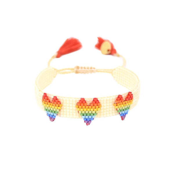Rainbow Beaded Three Heart Bracelet | Mishky | Fashion Accessories | Bracelet