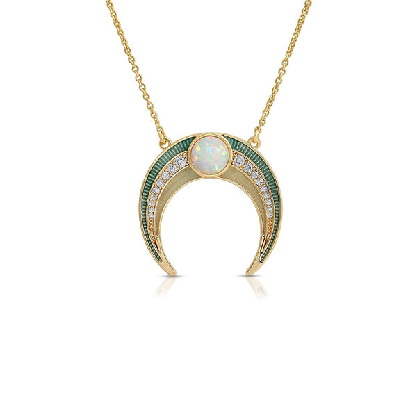 Gemstone Enamel Crescent Necklace | Elizabeth Stone | Fashion Accessories | Necklaces