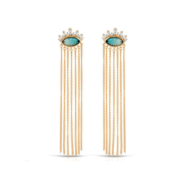 Blue Tourmaline Athena Chain Drop Earrings | Elizabeth Stone | Fashion Accessories | Earrings