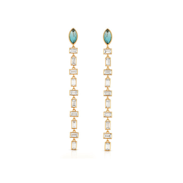 Blue Tourmaline Athena Gem Baguette Earrings | Elizabeth Stone | Fashion Accessories | Earrings