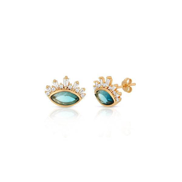 Blue Tourmaline Athena Gem Stud Earrings | Elizabeth Stone | Fashion Accessories | Earrings