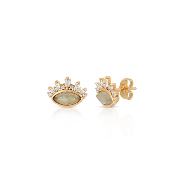 Labradorite Athena Gem Stud Earrings | Elizabeth Stone | Fashion Accessories | Earrings