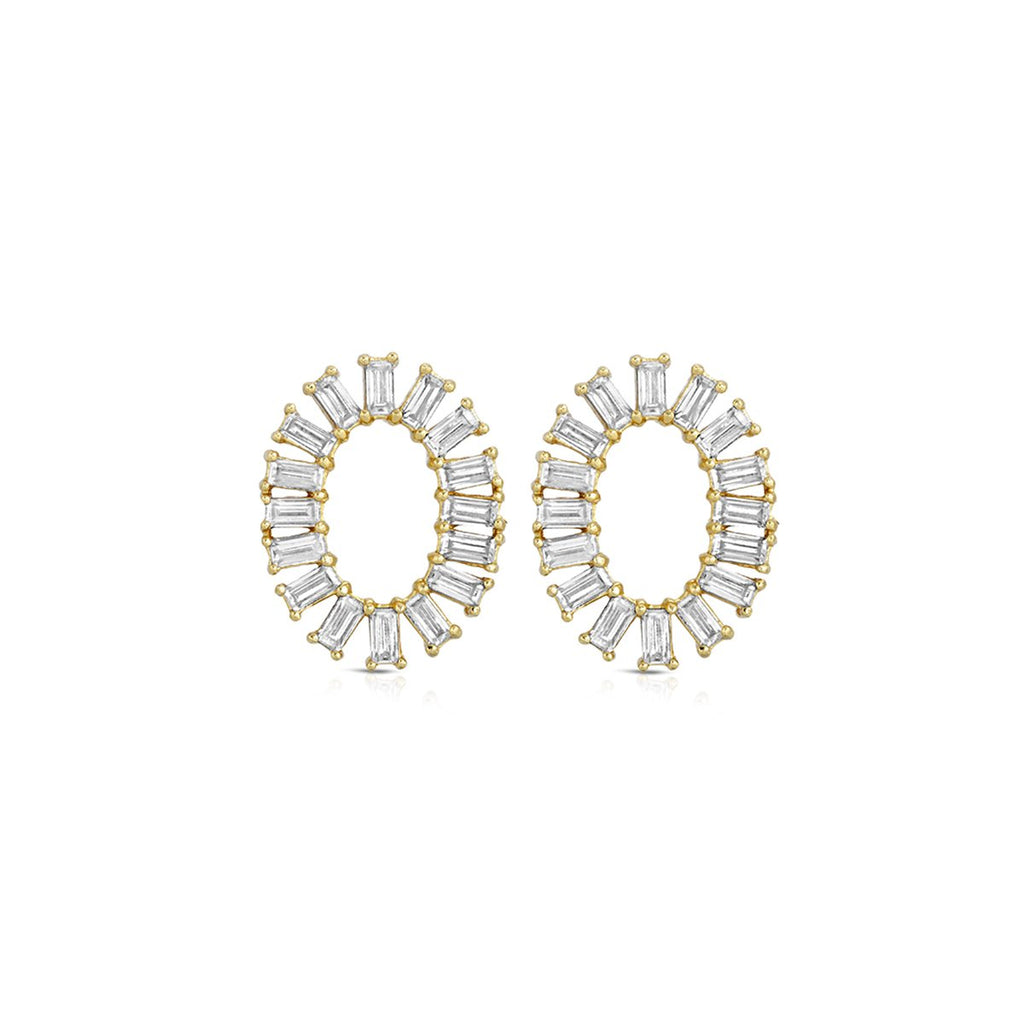 Oval Baguette Studs Earrings | Elizabeth Stone | Fashion Accessories | Earrings
