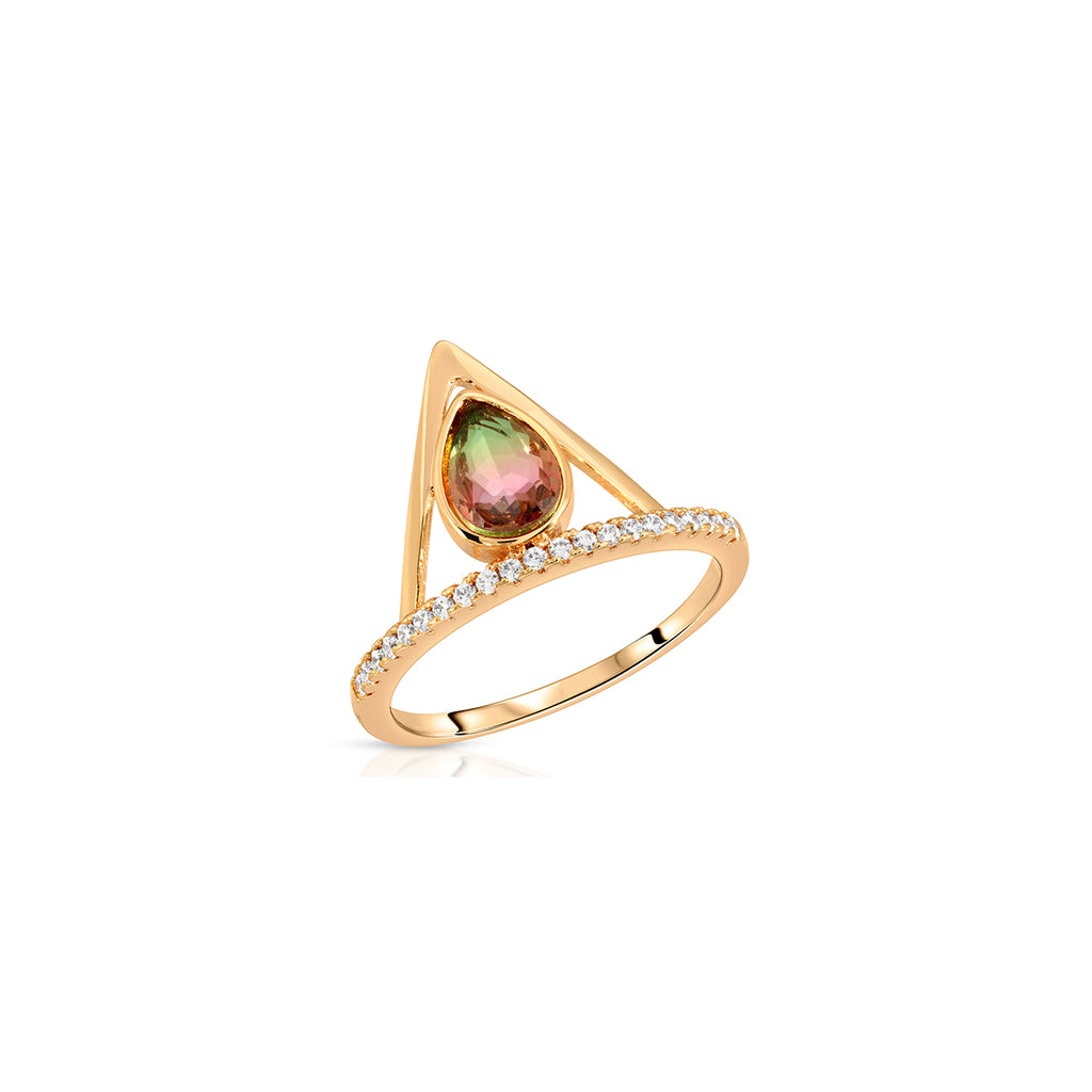 Watermelon sorbet pave triangle ring