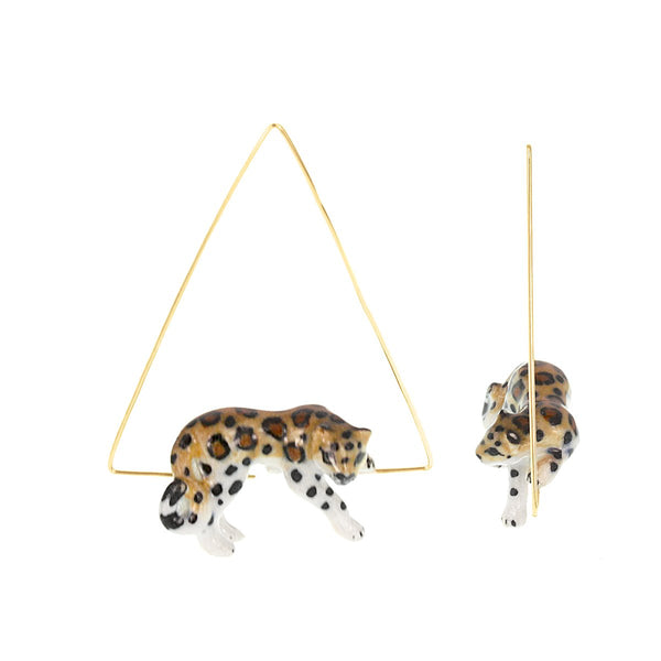 Lying Leopard Triangle Earrings | Nach Bijoux | Fashion Accessories | Earrings