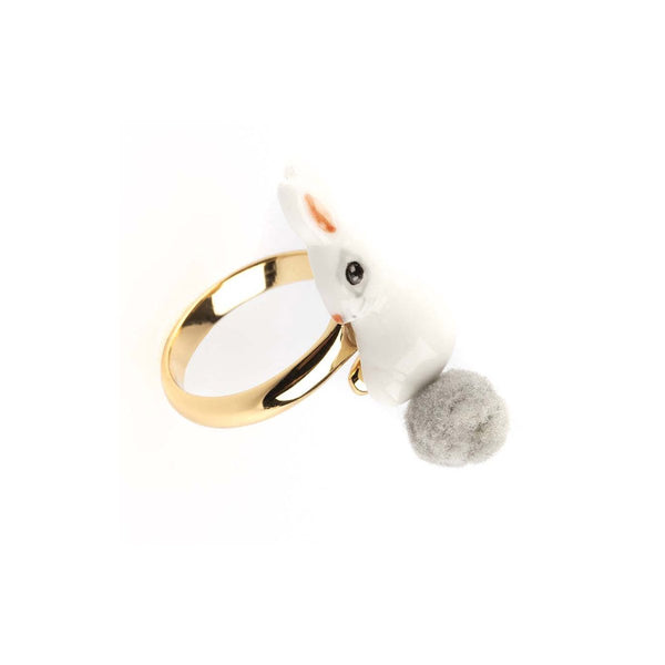 White Rabbit With Pompom Ring | Nach Bijoux | Fashion Accessories | Ring