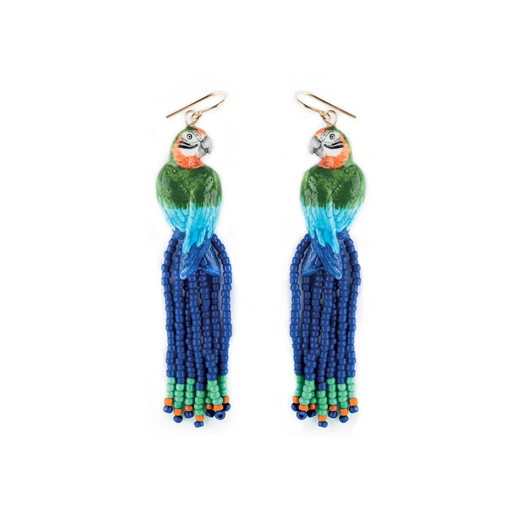 Blue&Green Parrot With Pearls Earrings | Nach Bijoux | Fashion Accessories | Earrings