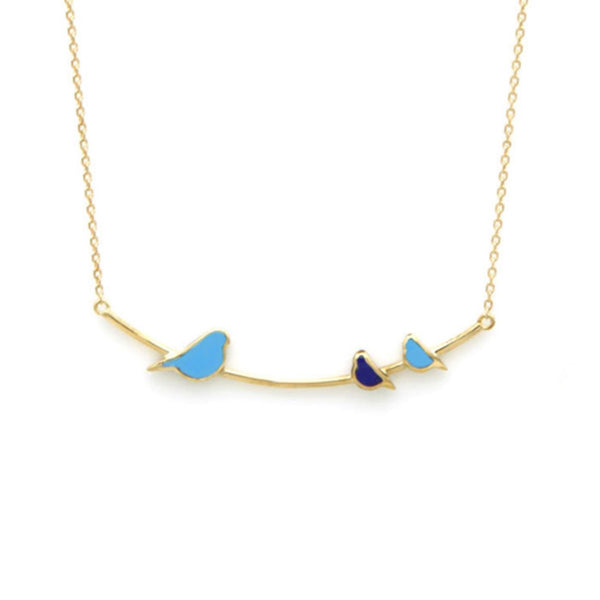 18K Gold Lapis And Turquoise Birds Necklace | Orchid Jewelry | Fine Jewelry | Necklace