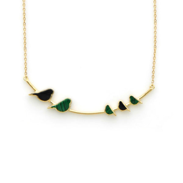 18K Gold Malachite And Onyx Birds Necklace | Orchid Jewelry | Fine Jewelry | Necklace