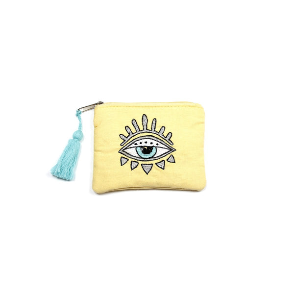 Yellow Embellished Bling Eye Coin Purse | America & Beyond |Bag | Coin Purses