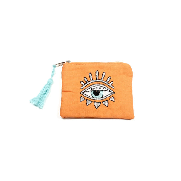 Orange Embellished Bling Eye Coin Purse | America & Beyond |Bag | Coin Purses