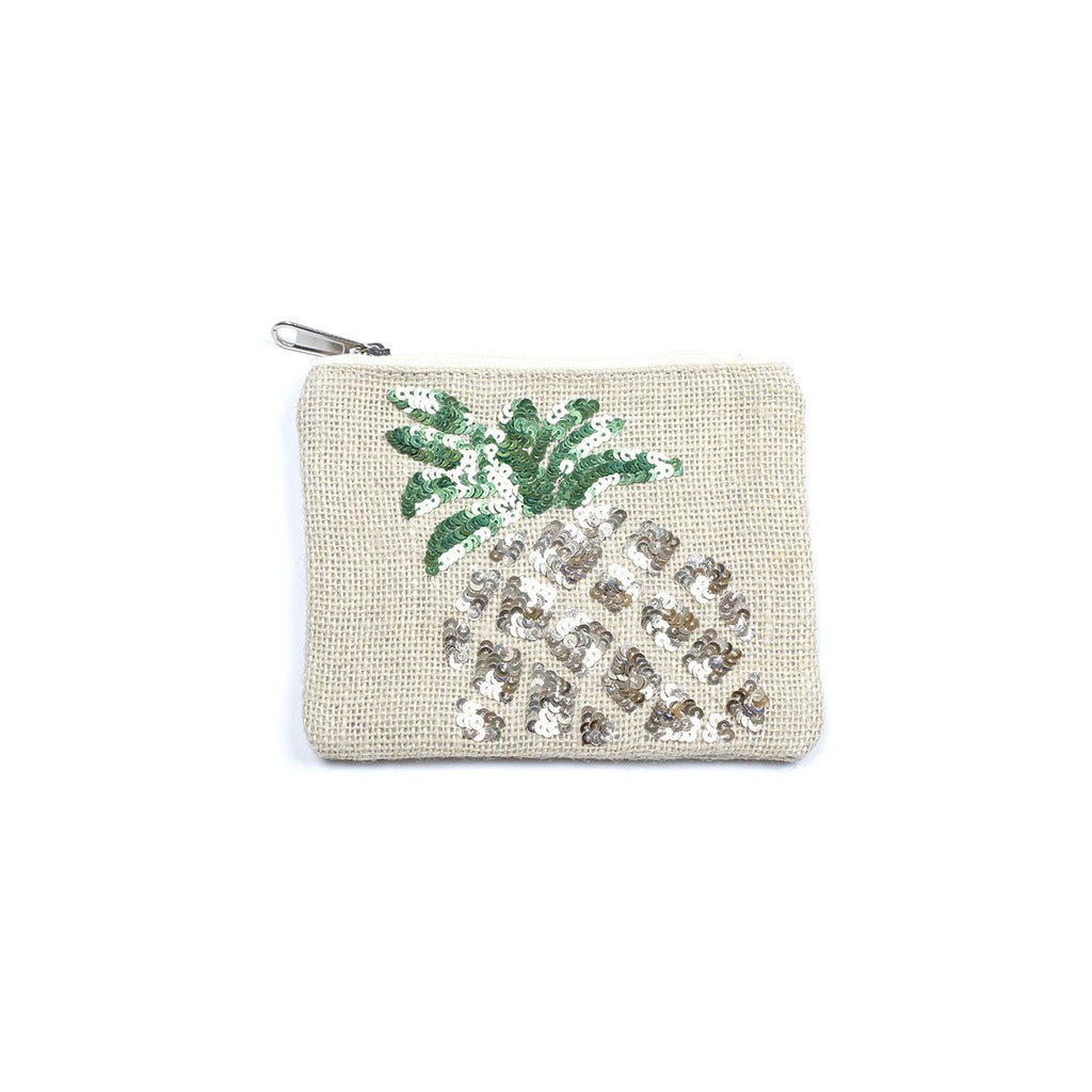Pineapple Embellished Jute Coin Purse | America & Beyond |Bag | Coin Purses