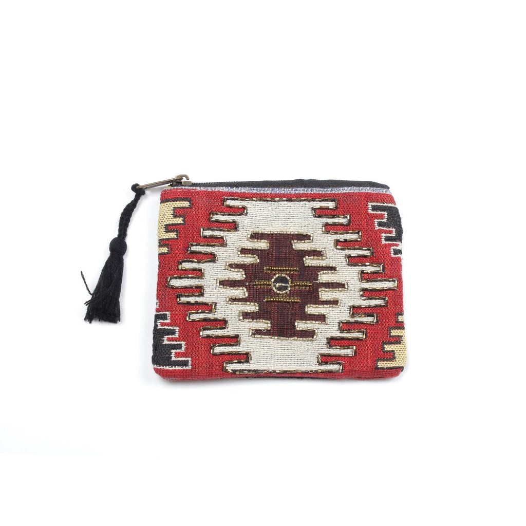 Red Jacquard Coin Pouch | America & Beyond |Bag | Coin Purses
