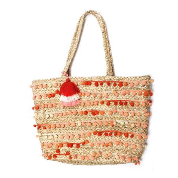 Pom Pom Jute Shoulder Bag | America & Beyond |Bag | Shoulder bag