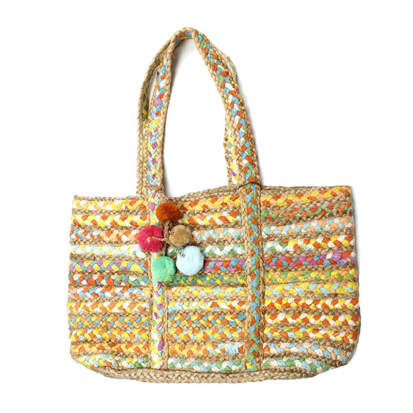 Orchid Braided Chindi Market Tote Bag | America & Beyond |Bag | Tote bag