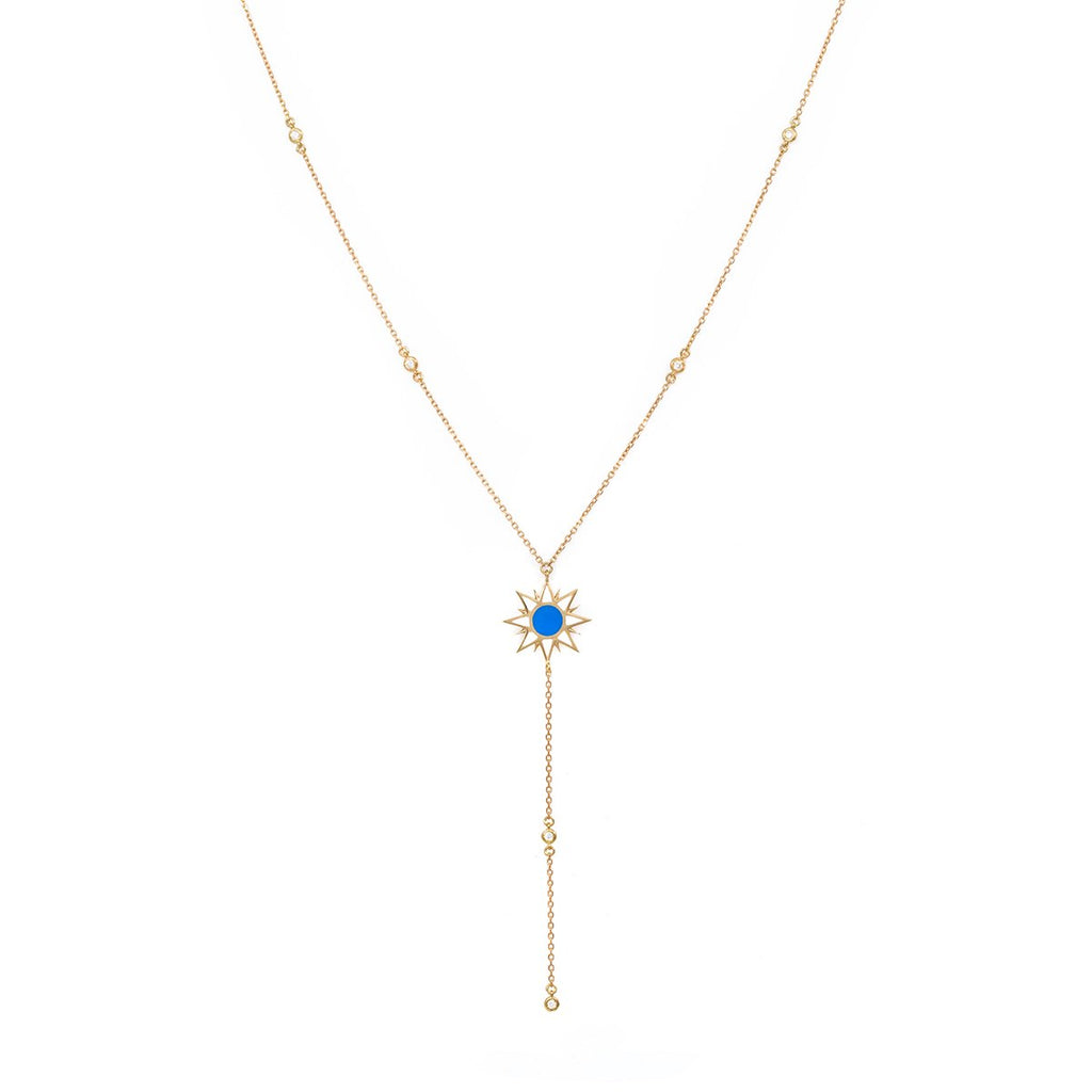 18K Gold Enamel Sun Necklace | Orchid Jewelry | Fine Jewelry | Necklace