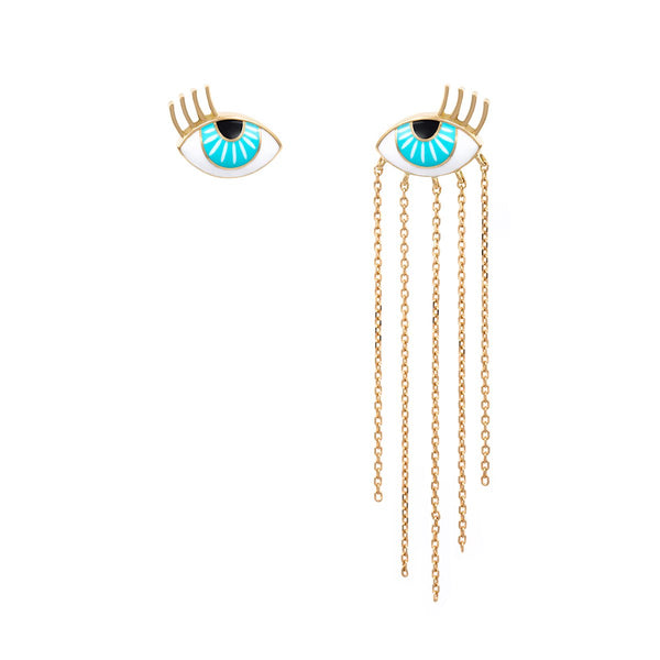 18K Gold Flirty Enamel Eye Earrings | Orchid Jewelry | Fine Jewelry | Earrings