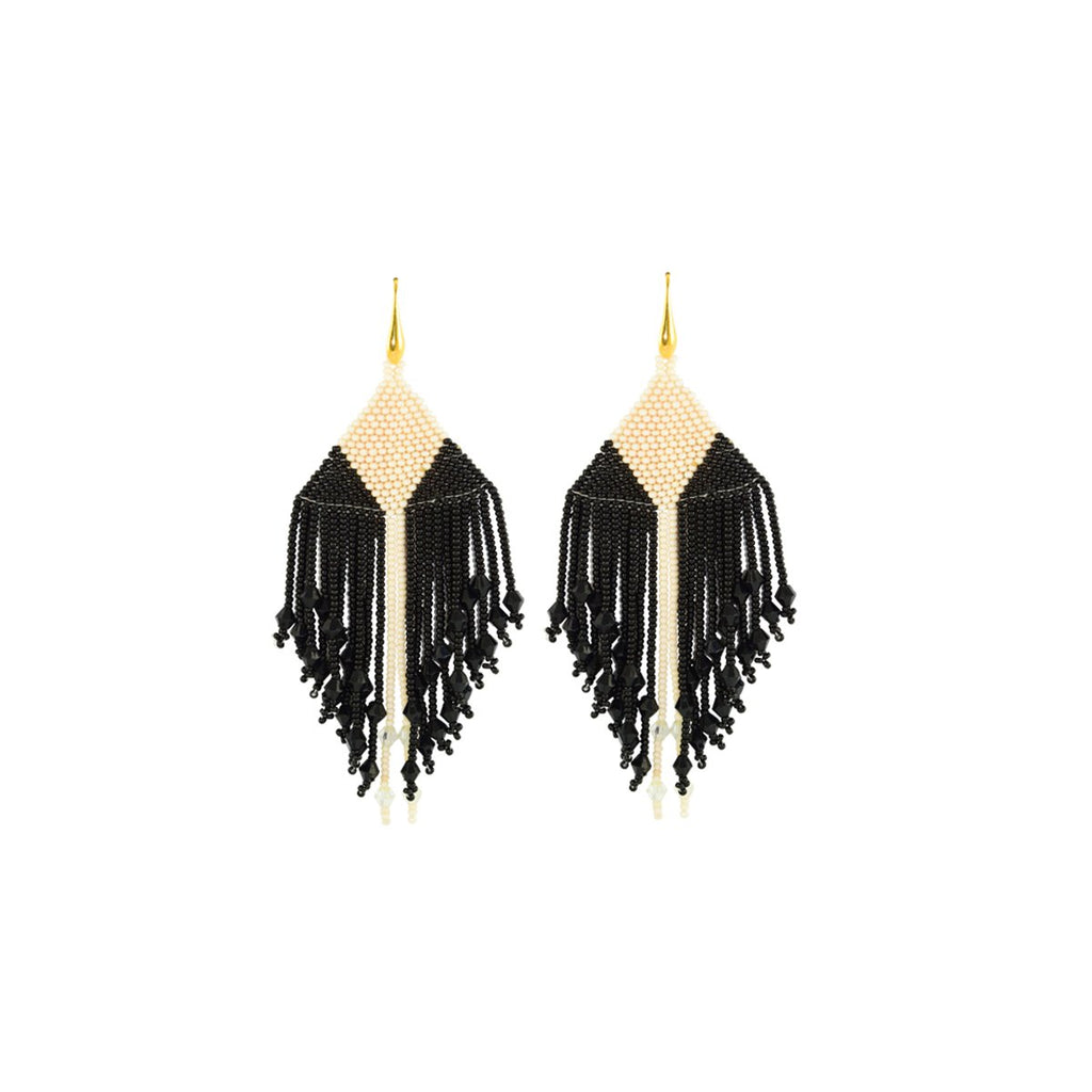 Black And Narrow White Stripe Earrings | Miccy's | Fashion Accessories | Earrings