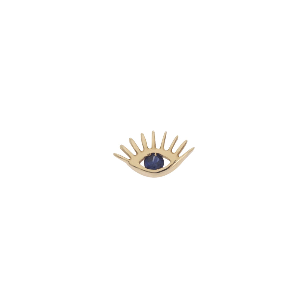 Single Piece 14K Rose Gold Evil Eye Sapphire Stud Earring | Kismet by Milka | Fine Jewelry | Earrings