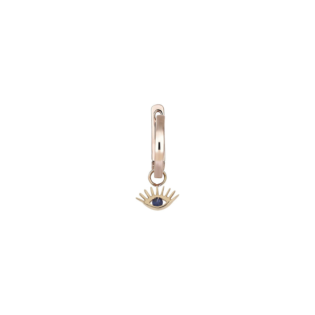 Single Piece 14K Rose Gold Evil Eye Sapphire Hoop Earring | Kismet by Milka | Fine Jewelry | Earrings